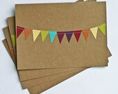 Thank You Cards Stationery 5x7 Bunting Flag Rainbow