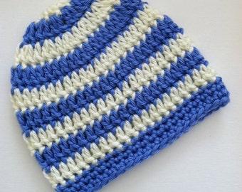 Blue and Cream Stripe Beanie, Crochet Baby Hat, Newborn Hat, Baby Hat, Crochet Baby Beanie, Photo Prop, Blue Baby Hat