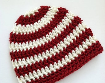Red and Creamy White Stripe Beanie, Crochet Baby Hat, Newborn Hat, Baby Hat, Crochet Baby Beanie, Photo Prop, Red Baby Hat