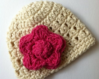 Crochet Baby Hat with Flower, Cream Baby Hat with Pink Flower, Newborn Hat with Flower, Crochet Baby Hat, Newborn Baby Hat