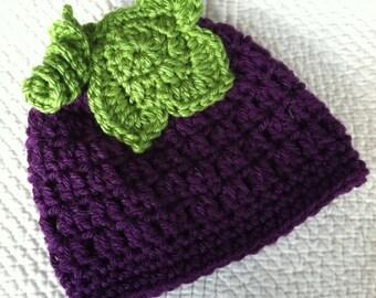 Crochet Baby Hat, Baby Hat, Grape Baby Hat, Purple Newborn Hat, Newborn Baby Hat, Grape Hat,  Child Hat