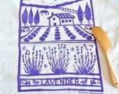 Flour Sack Dish Towel - Lavender Farm: Purple or Lilac