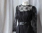 Black Lace Gothic Bride Bridesmaid Prom Mourning Dress Size 12