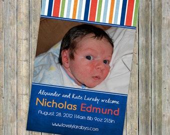 Bright Baby Boy Photo Birth Announcement,  printable, digital file