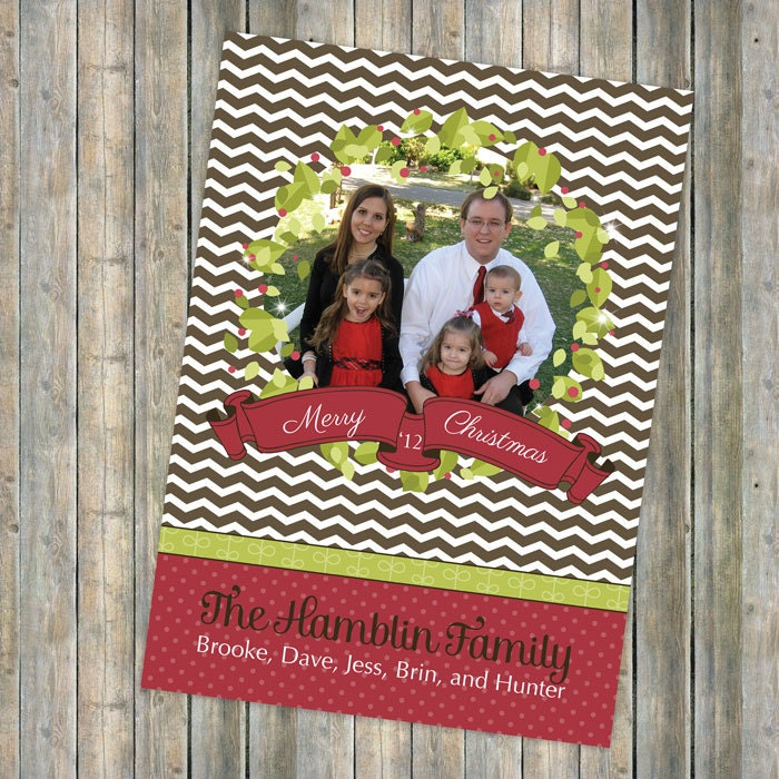 Wreath Christmas card with ribbon, holiday card with photo, photo card, digital printable file