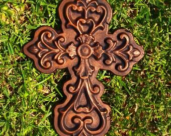 Cross Mold Fleur De Lis ABS Plastic Mould Plaster Concrete Cement Home Outdoor Decor Garden Art New