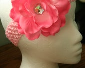Pink Large Rose hair flower with headband