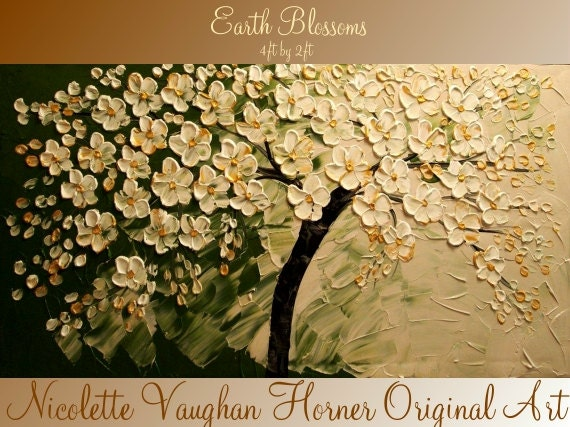 XLarge gallery wrap canvas Original Contemporary   oil/acrylic  Impasto painting Earth Blossoms by Nicolette Vaughan Horner