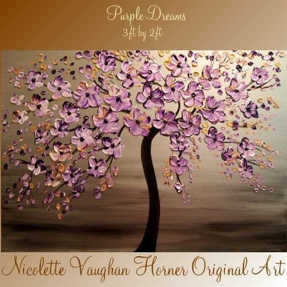 Original   abstract contemporary fine art  palette knife signature floral painting by Nicolette Vaughan Horner