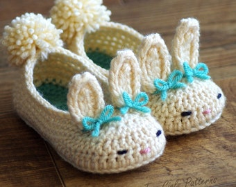 Toddler Bunny Slippers #214 Classic Bunny Slipper Crochet Pattern - Childrens shoe Sizes 4 - 9 - Number 214 Instant Download  kc550