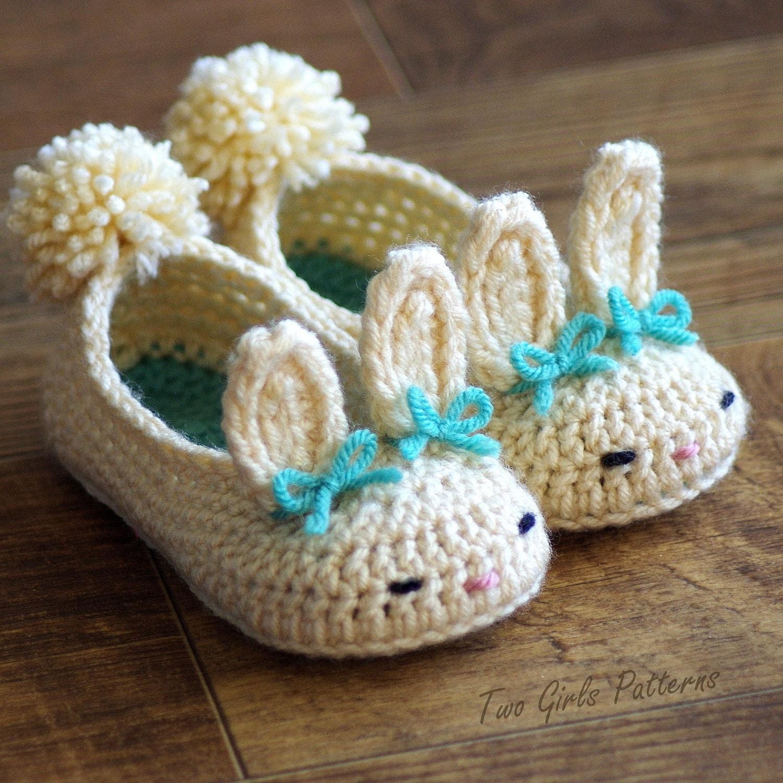 Crochet Pattern Beaded Baby Shoes : Toddler Bunny Slippers 214 Classic Bunny Slipper Crochet