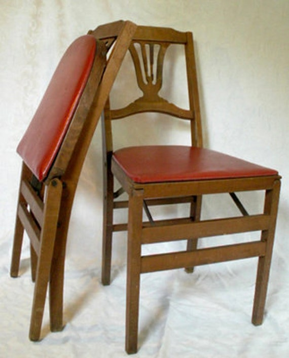 2 Harp Back Wood Folding Chairs Stakmore Garden Tea Party