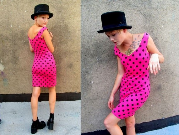 Hot Pink Polka Dot Mod New Wave Bodycon Tight 80's Party Mini Dress