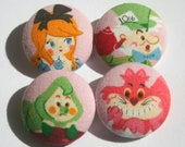 Alice in Wonderland Buttons, Fabric Covered, Set of Four