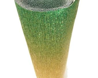 Italian Crepe Paper roll 180 gram  - 801/2 GREEN/GOLD metallic nuance