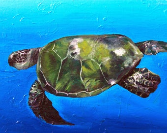 "Turtle Honu Hawaiian archival art print 8""×10"" with 11""×14"" matting in white with black trim"