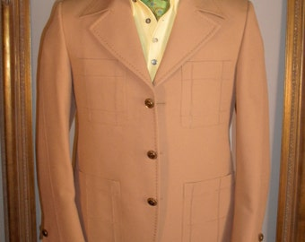 Vintage 1970's Camel Colored Jacket with Brown Stitching - Size 40S