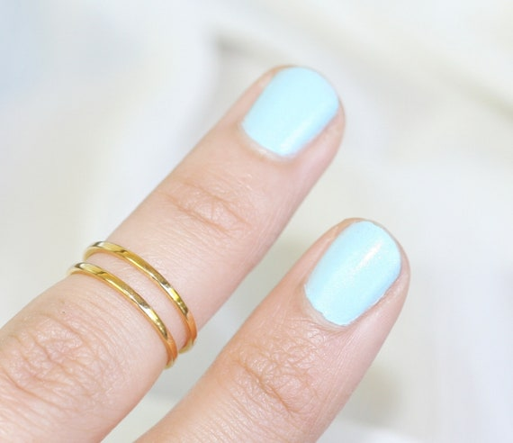 Set of 2 GOLD PLATED Silver rings