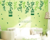 Beautiful Flowers with Flying Birds and Birdscage-Vinyl Wall Decal,Sticker,Nature Design