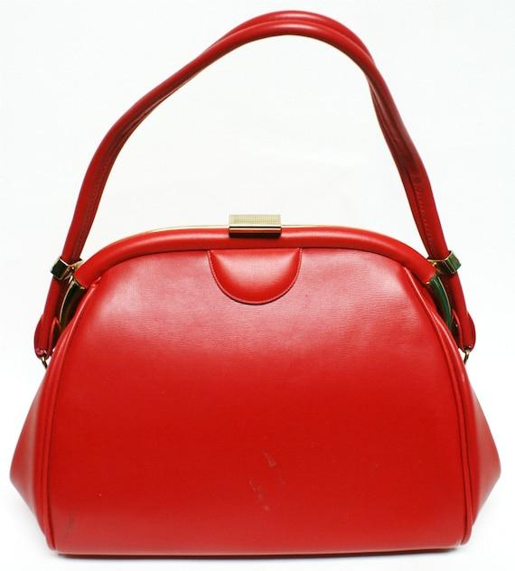 The LIPSTICK RED Vtg 50s 60s Pinup Rockabilly Handbag Purse