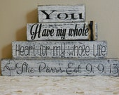 Shabby chic personalized wedding gift wooden blocks burlap shower gift anniversary you have my whole heart for my whole life