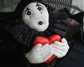 Valentines Day Decorator Satin Pillow of Mime Holding Heart HOLIDAY Gift Sale