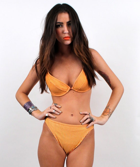 1980s-early 90s Sherbert High Waisted Bikini // Two Piece Swim Suit // Sunshine Yellow/ Vintage Small or Medium