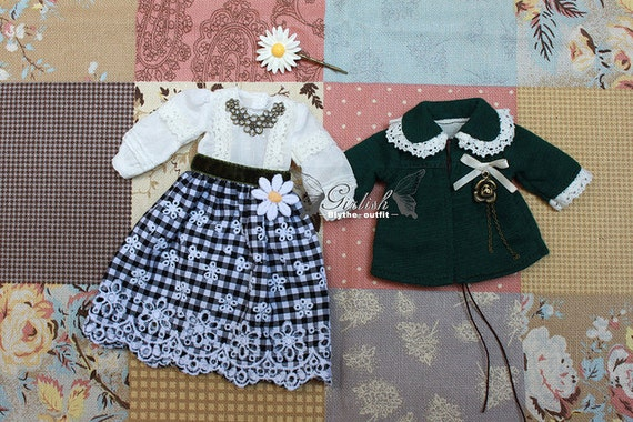 10% OFF - Daisy Flora Rain dress set for Blythe doll - Blythe outfit