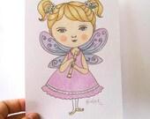 CLEARANCE SALE Original Illustration Pencil Drawing Nursery Children's Art - Purple Fairy by Amalia K