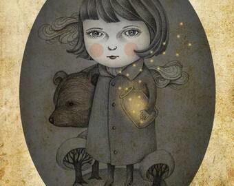 Gothic Pop Surrealism Lowbrow Art, Girl Illustration, Print of Original Pencil Drawing Digital Illustration