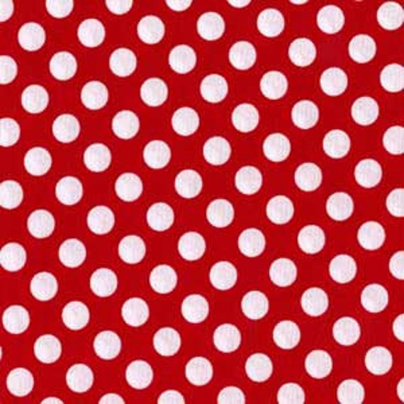 TA DOT   by the yard white polka dots on cherry red cotton Fabric by Michael Miller MINNIE Mouse