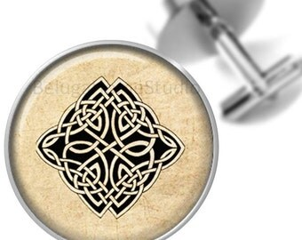 Celtic Tattoo Cufflinks Black Sepia  Groomsmen Wedding Party Fathers Dads Men