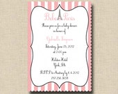 Bebe in Paris Baby Shower Invitation or French Pink Poodle in Paris Birthday Party Invitation - Printable