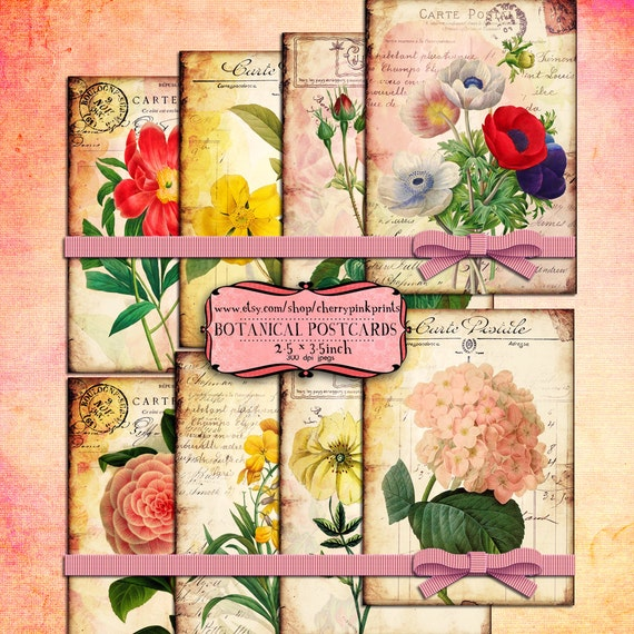 VINTAGE FLOWER vintage digital collage sheet, Collage Shabby Texture Digital papers Download Scrapbooking Supplies for homecraft