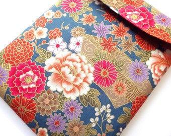 Sony tablet s cover Samsung Galaxy tablet case Japanese ereader case - Kimono cotton fabric chrysanthemum teal blue