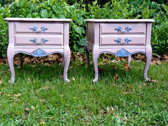 HOLD Phil  Pair French Provencial  Nightstands  Shabby Chic  Pink Nightstands Paris Apartment French Country Cottage Chic  Design Du'Jour
