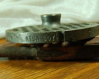 1 Rare Vintage No. 32 Steel Meat Grinder Pressure Plate  -   ATSA BOY
