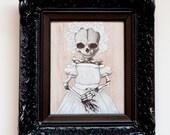 Memento Mori - baby skeleton portrait in vintage frame.