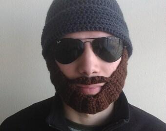 Handmade crochet PATTERN Detachable beard hat for adults, hat with beard in tutorial PDF file