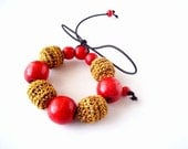 Red Ocher Brown Crocheted Bead Necklace / Bracelet /Fall Colors / Crochet Covered Wooden Beads Necklace Necklace