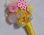 Dolly Mixtures Button Buttonhole - Yellow and Pink Retro Buttonhole - Custom