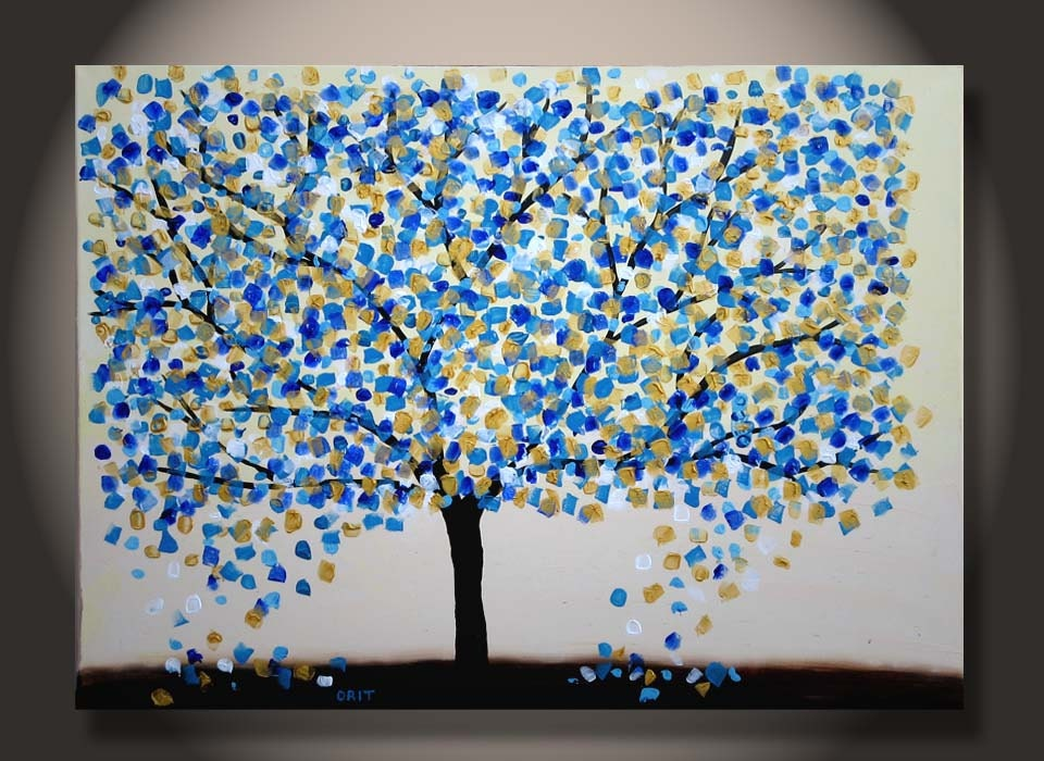 Items similar to large tree painting gold turquoise for Texture painting ideas canvas