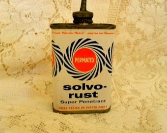 1959 Permatex Solvo Rust tin with squirt nozzle vintage industrial