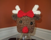 Rudolph the Red Nose Reindeer Hat with Red Bow