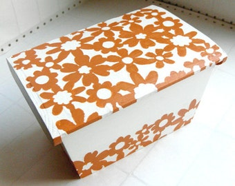 Mod Floral Box - tangerine orange wood box, sewing box, trinket box, office decor, retro decor