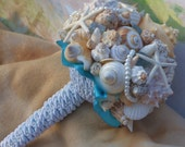 Seaside Bouquet  Malibu Blue, Seaglass,Starfish and Seashell Bouquet
