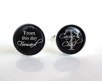 Groom Cuff Links Custom Name and Wedding Date Cufflinks - From This Day Forward Personalized Wedding Gift - Sterling Silver or Stainless