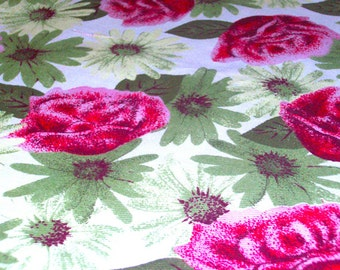 "Vintage Fabric - Pink & Lime Fuzzy Roses and Daisies - Home Dec - 72""L x 58""W - NehiandZotz"