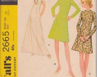 """McCall's 2665 Misses' Dress in Three Versions Pattern, UNCUT, Size 10, Bust 32 1/2"""", Vintage 1970, Retro, Mini Dress, Maxi Dress,Roll Collar"""