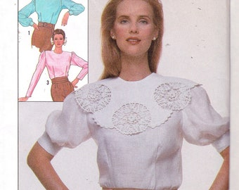 Simplicity 8511 MIsses' Blouse Pattern,UNCUT, Size 6-8-10, Vintage 1988, Retro, Flashback, Easy to Sew, Button Back